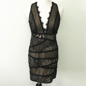 BEBE Jasper Deep V Lace Dress Black nude  S